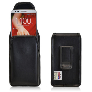 LG G2 Vertical Leather Holster, Black Belt Clip