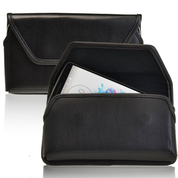 LG G3 Horizontal Leather Holster, Black Belt Clip