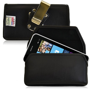 Nokia Lumia 635 Horizontal Leather Holster, Metal Belt Clip