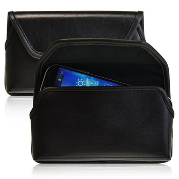 Samsung Galaxy Note 3 III Horizontal Leather Holster, Black Belt Clip