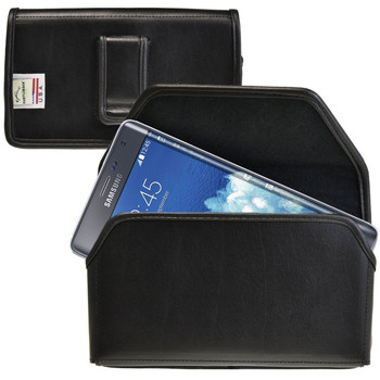 Samsung Galaxy Note Edge Horizontal Leather Holster, Black Belt Clip