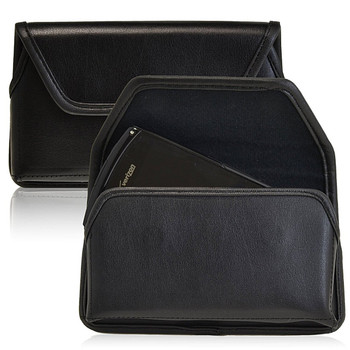 Samsung Galaxy S4 IV Horizontal Leather Holster, Black Belt Clip