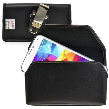 Samsung Galaxy S5 Horizontal Leather Holster, Metal Belt Clip