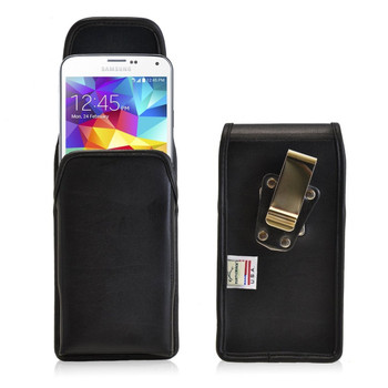 Samsung Galaxy S5 Vertical Leather Holster, Metal Belt Clip
