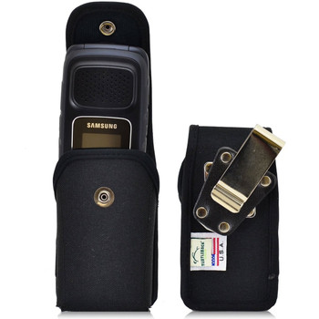 Samsung Rugby 4 Vertical Nylon Holster, Snap Closure, Metal Belt Clip