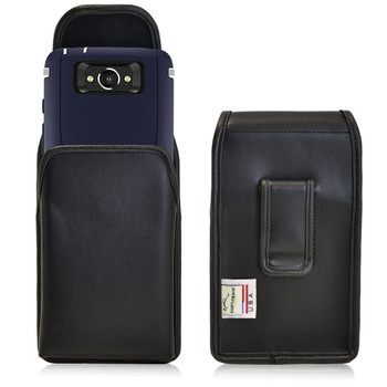 Vertical Leather Extended Holster for Motorola Droid Turbo with Bulky Cases, Black Belt Clip