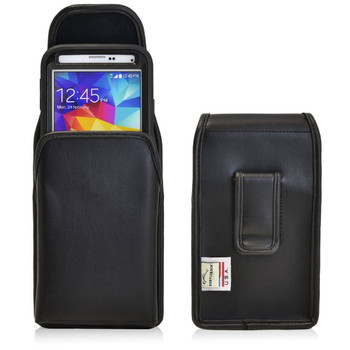 Vertical Leather Extended Holster for Samsung Galaxy S5 V with Bulky Cases, Black Belt Clip