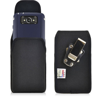 Vertical Nylon Extended Holster for Motorola Droid Turbo with Bulky Cases, Metal Belt Clip