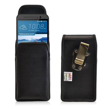 HTC One M9 Vertical Leather Holster, Metal Belt Clip