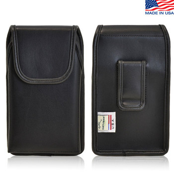 6.00 X 2.87 X 0.50in - Vertical Leather Holster, Black Belt Clip