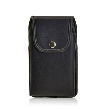 6.00 X 3.00 X 0.50in - Leather Holster Metal Belt Clip with Snap Closure