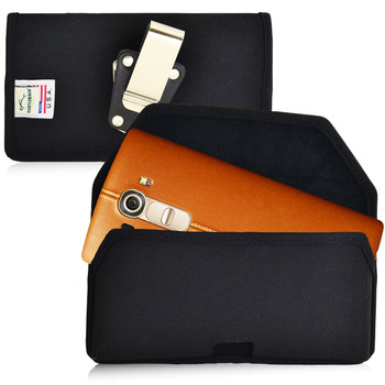 LG G4 Horizontal Nylon Holster, Metal Belt Clip