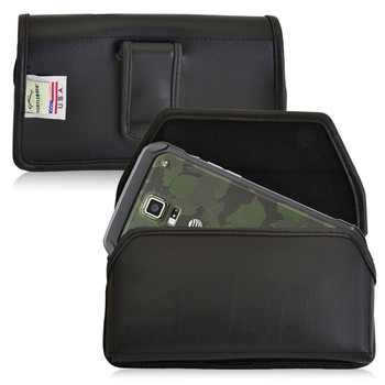 Samsung Galaxy S5 Active Horizontal Leather Holster, Black Belt Clip