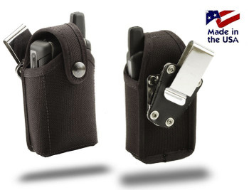 3.85 X 2.15 X 0 .90in - Nylon Flip Phone Holster with Metal Clip