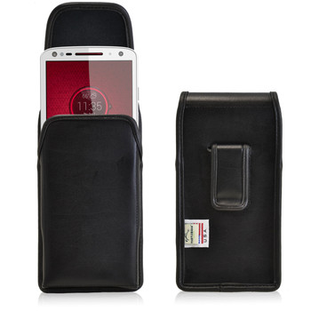 Droid Turbo 2 Leather Vertical Holster Black Clip