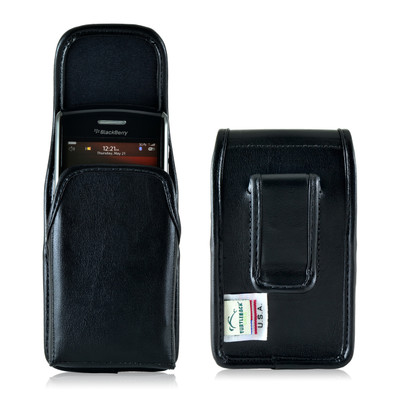 Blackberry 9000 8350i 8330 Leather Holster, Black Belt Clip