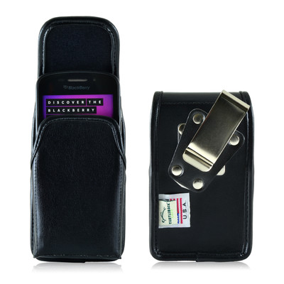 Blackberry 9000 8350i 8330 Leather Holster, Metal Belt Clip