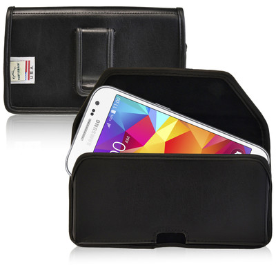 Galaxy Core Prime Leather Black Holster Case, Black Belt Clip