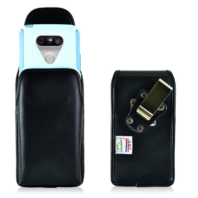 Turtleback LG G5 Vertical Leather Holster Case with Metal Clip for Otterbox Commuter