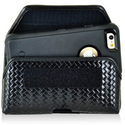 iPhone 6S Police Pouch Belt Clip Horizontal hook and loop Closure Black Basketweave Leather Holster Pouch Heavy Duty Rotating Belt Loop fits Otterbox Defender and Bulky Cases