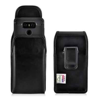 LG G6 Leather Vertical Holster Case Black Belt Clip