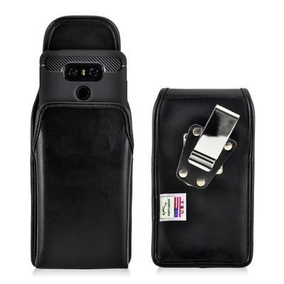 LG G6 Leather Vertical Holster Case Metal Belt Clip