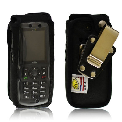 Sonim XP5560 BOLT 2 Heavy Duty Black Leather Case with Rotating Removable Metal Clip