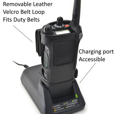 Motorola APX 8000 Belt Carry Holder Case by Turtleback, Black Leather Duty Belt Holster with Heavy Duty Rotating Belt Clip
