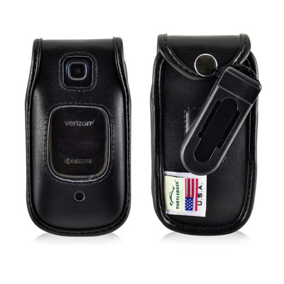 Kyocera Cadence Flip Phone Case Black Plastic Removable Clip