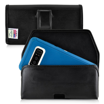 Galaxy Note 8 Leather Holster for Otterbox DEFENDER Case Black Clip and Fits Bulk Cases
