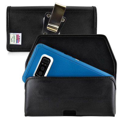 Galaxy Note 8 Leather Holster for Otterbox DEFENDER Case Metal Clip and Fits Bulk Cases