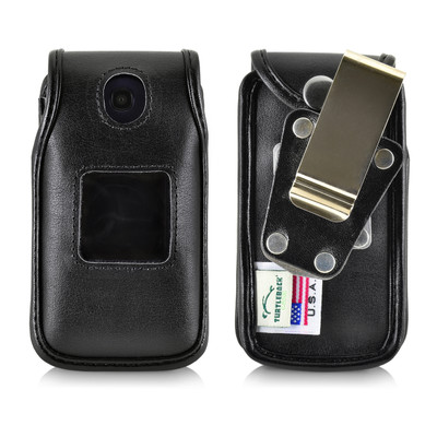 Consumer Cellular Alcatel GO FLIP,Go Flip V, ATT Flip2, T-Mobile 4044W, MYFLIP (A405DL) Black LEATHER Fitted Case Metal Removable Belt Clip