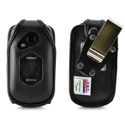 Kyocera DuraXV LTE Verizon E4610 Flip Phone FITTED CASE Black Leather Metal Ratcheting Removable Clip