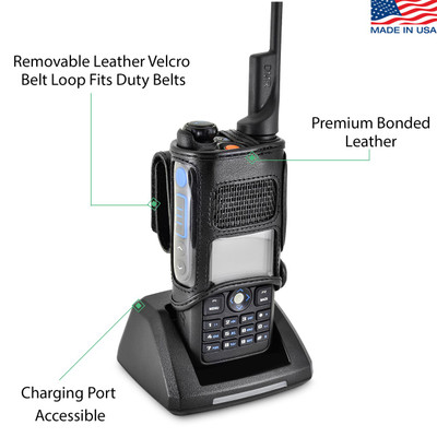 Retevis MD2017 Radio Belt Case Holder Two 2Way Radios Walkie Talkie Black Leather Rotating Clip fits in Charger