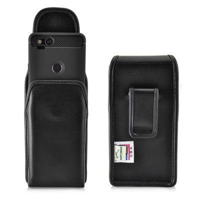 Google Pixel 2 Belt Case Fits Slim Case Vertical Black Leather Executive Belt Clip