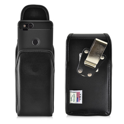 Google Pixel 2 Belt Case Fits Slim Case Vertical Black Leather Heavy Duty Rotating Belt Clip