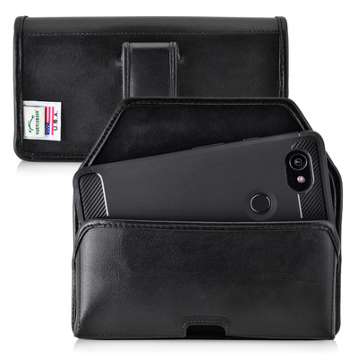 Google Pixel 2 XL Belt Case Fits Slim Case Black Leather Executive Belt Clip