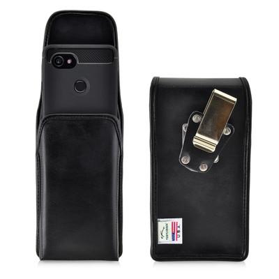Google Pixel 2 XL Belt Case Fits Slim Case Vertical Black Leather Heavy Duty Rotating Belt Clip
