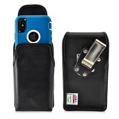 Turtleback Belt Case compatible with iPhone 11 Pro, XS & X w/ Otterbox DEFENDER case Black Vertical Holster Leather Pouch with Heavy Duty Rotating Ratcheting Belt Clip Made in USA