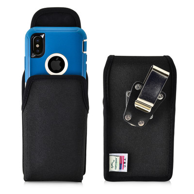 Turtleback Belt Clip Case compatible with iPhone 11 Pro, XS & X w/ Otterbox DEFENDER case Black Vertical Holster Nylon Pouch with Heavy Duty Rotating Belt Clip Made in USA