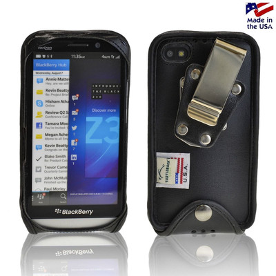 Blackberry Z30 Fitted Black Leather Case with Metal Belt Clip