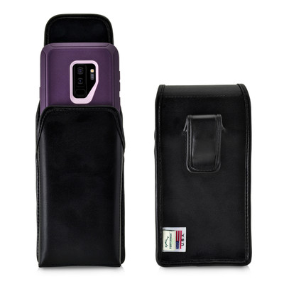 Galaxy S9 Plus Vertical Holster for Otterbox DEFENDER Case Flush Leather Covered Belt Clip Pouch
