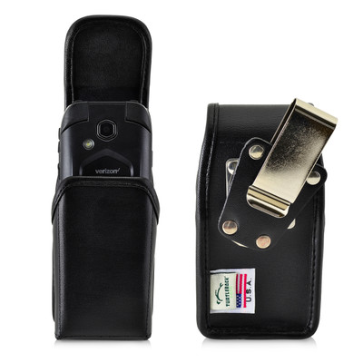 4.38 X 2.25 X 1.15 in -  Leather Pouch Case Rotating Black Belt Clip Magnet