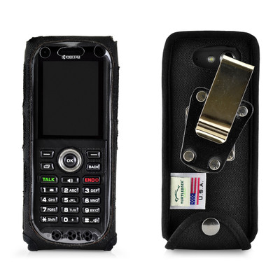 Kyocera DuraTR E4750 Phone Heavy Duty Black Nylon Fitted Case with Metal Ratcheting Removable Belt Clip