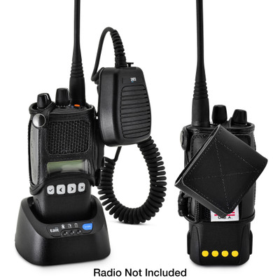 """TAIT TP8100 Fire and Police Two Way Radio Belt Clip Holster Case Black Leather Rotating Ratcheting 2.25"""" Belt Loop"""