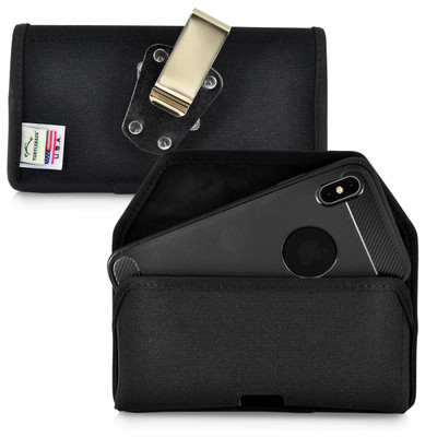iPhone 11 Pro Max (2019) & XS MAX (2018) Belt Clip Horizontal Holster Case Black Nylon Pouch Heavy Duty Rotating Clip