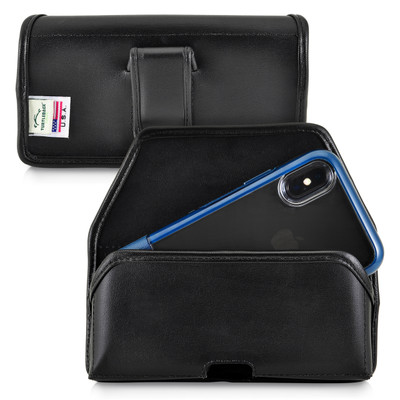Turtleback Holster Designed for iPhone 11 Pro, XS & X Fits with OTTERBOX STATEMENT, Black Leather Belt Case Pouch with Executive Belt Clip, Horizontal Made in USA