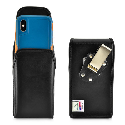 iPhone XS (2018) Fits with OTTERBOX PURSUIT Vertical Holster Black Leather Pouch Rotating Belt Clip
