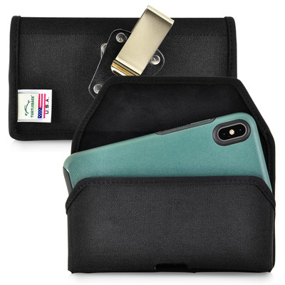 Turtleback Belt Clip Case Designed for iPhone 11 Pro Max (2019) / XS Max (2018) with OTTERBOX SYMMETRY, Black Nylon Holster Pouch with Heavy Duty Rotating Belt Clip, Horizontal Made in USA