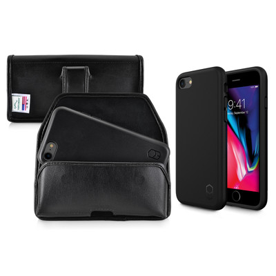 iPhone 8 Phone Case and Holster with Black Belt Clip Set, Black